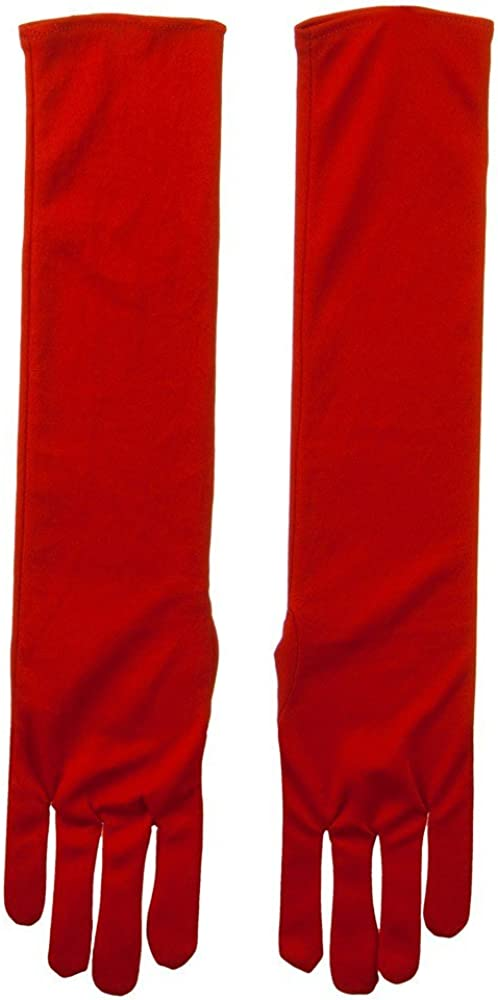 Adult Nylon 18 Inch Long Glove - Red