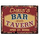 Chic Sign CHRIS'S BAR and TAVERN Tin Rustic Vintage style Retro Kitchen Bar Pub Coffee Shop Decor 9'x 12' Metal Plate Sign Home Store man cave Decor Gift