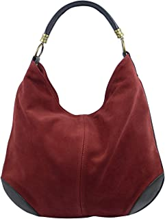Freyday Damen Henkeltasche Hochwertige Handtasche aus Wildleder mit Schultergurt