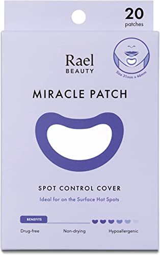 Rael Acne Pimple Healing Patch - Large Spot Control Cover, Long Size, Hydrocolloid Strip for Breakouts, Extra Coverag...