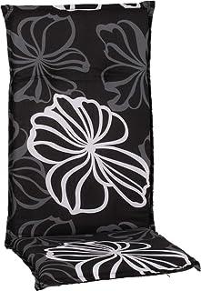 Gartenstuhl-Kissen Almohada Cojines para sillas de jardín Respaldo Alto Gris Antracita Flores de Plata