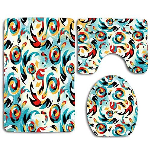 Aerosol Graffiti en estilo coloreado Alfabeto abstracto Pizarra Comic Creativo Moderno Crimen Arte Alfombra de baño Alfombrilla Juego de 3 piezas, antideslizante Tapa del asiento del inodoro Alfombra