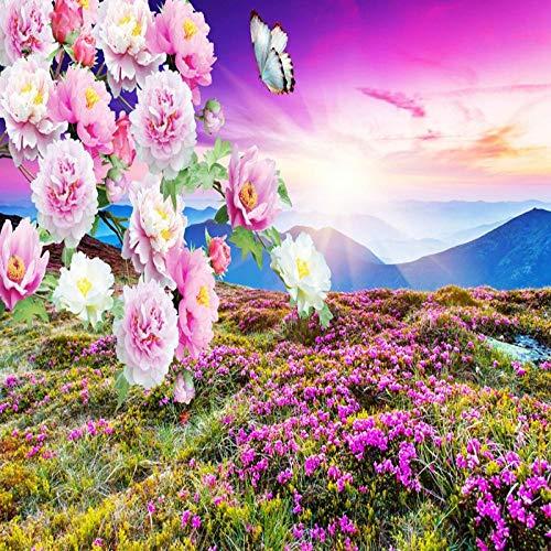Behang voor zonsondergang, landschap, pioenrozen, wanddecoratie, wandschildering, breed papier, fotobehang, wandschilderij, 3D-wand -300cmx210cm