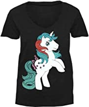 My Little Pony Retro Pony Stance with Colored Studs Black V-Neck Juniors T-shirt