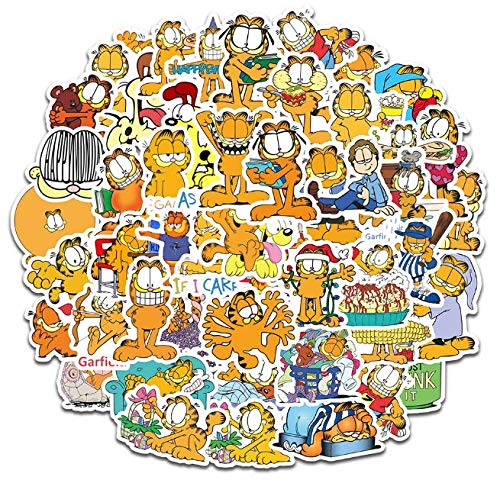 Cartoon Cute Flat Face Garfield Stickers Stationery Hand Account Suitcase Mobile Phone Notebook Charging Treasure Waterproof Stickers 50 Sheets