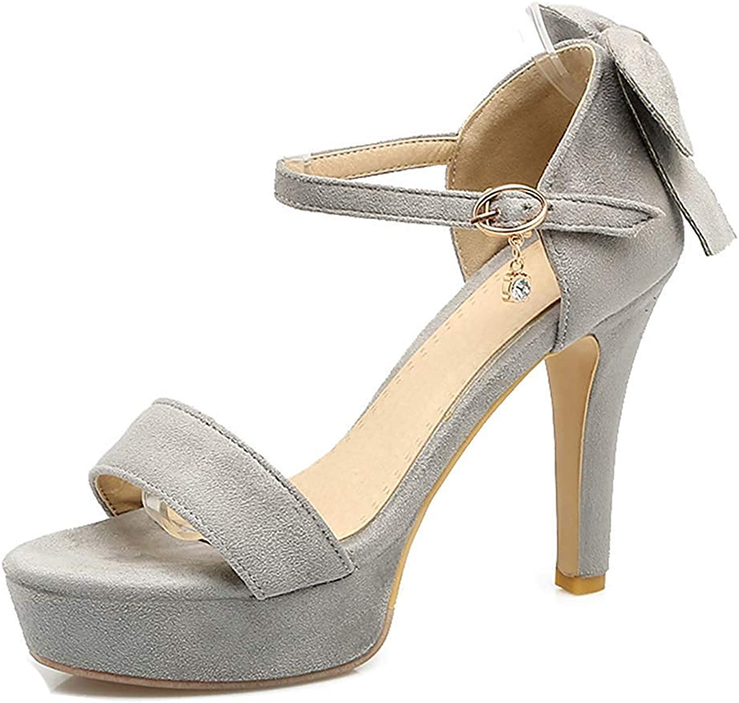 Unm Women's Party Wedding Open Toe Buckled Stiletto High Heel Platform Ankle Strap Sandals with Bow