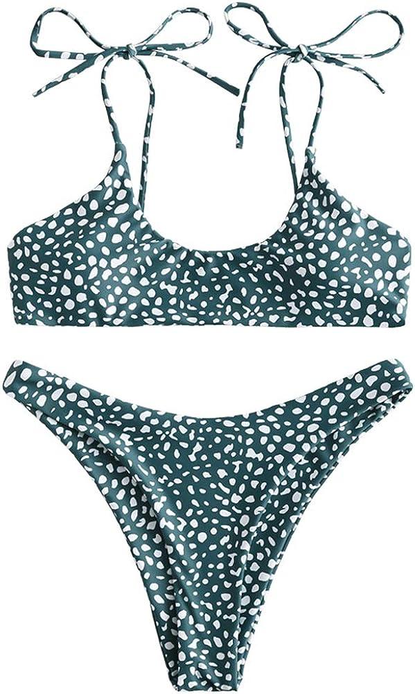 ZAFUL Women Tie Shoulders Bikini Set Straps Swimsuit Bralette Bathing Suit