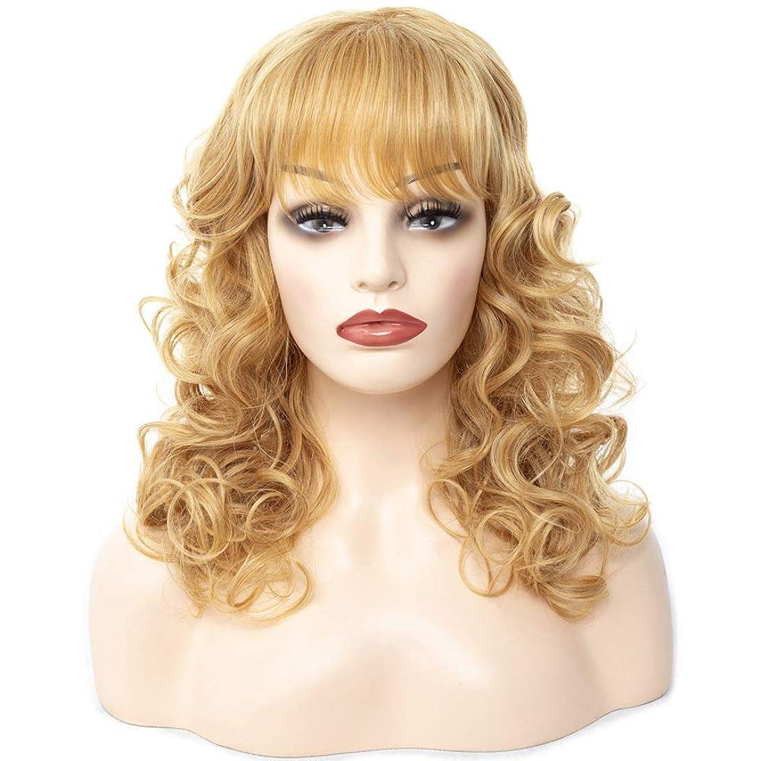 立場速記ペックHOHYLLYA 女性のための前髪の黄色の長い巻き毛のかつら、合成のかつら、コスプレ衣装または毎日のかつらパーティーかつら (色 : イエロー, サイズ : 45cm)