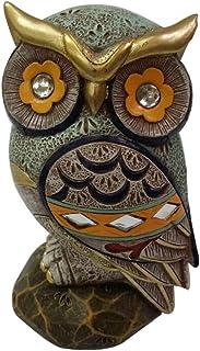 Estátua de coruja para decoração de casa estátua colorida colecionável boa sorte, 10 Inches