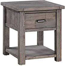 Crestview Collection CVFVR8026 Pembroke Plantation Recycled Pine Distressed Grey 1 Drawer Rectangle End Table Furniture