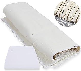 Toile de lin pour pâtisserie, 100 % coton naturel non traité pour plaques de cuisson à baguettes, avec spatule (36 x 45 cm)