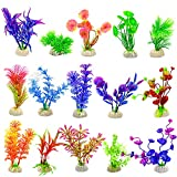 15pcs Plantas Artificiales Acuario Plantas Plásticas para Acuarios Planta Artificial Plástico Decoración Pecera Plantas para Peceras para Decoracion Acuario