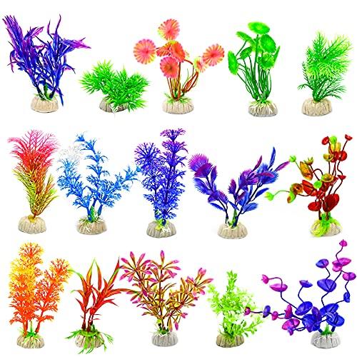 MUSEDAY 15 Stück Aquarium Pflanzen Set Künstliche Aquariumpflanzen Künstlich Wasserpflanze Plastikpflanzen für Aquarien Aquarium Wasserpflanzen für Fisch Tank Ornament Dekoration