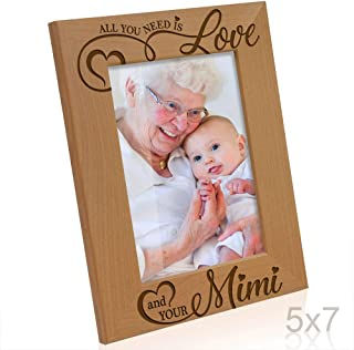 Kate Posh - All You Need is Love, and your Mimi Engraved Natural Wood Picture Frame, Grandparent's Day Gifts, Grandma Gifts, for Nana, (5x7-Vertical)