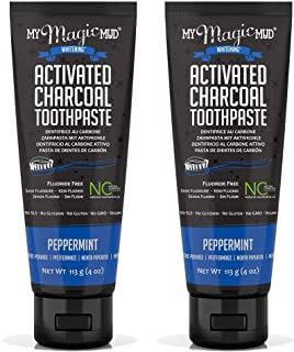 My Magic Mud Charcoal Teeth Whitening Toothpaste, Verified Enamel Safe & Clinically Proven, Organic Coconut Oil, Essential Oils, Best Natural Whitener, Fluoride-Free, Vegan, Peppermint 2-pack (4oz)