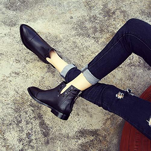 Shukun enkellaarsjes Women'S Booties puntige damesschoenen zwart herfst en winter klein met dunne Martin laarzen