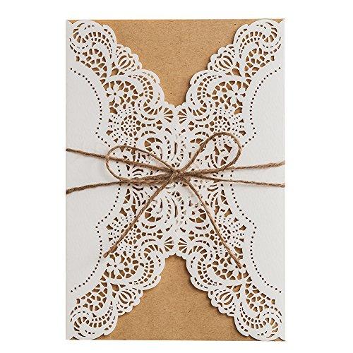 50X WISHMADE 5x7 pulgadas White Laser Cut Wedding Invites Kit con cuerda rústica y sobre, invitaciones de cumpleaños en blanco para imprimir para la despedida de soltera de Quincenera