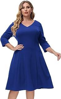 Hanna Nikole Women's Plus Size Swing Dress 3/4 Sleeve V Neck A Line Tea Dress