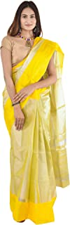 Ayesha Fashion Women's Uppada Cotton Saree With Blouse Piece (Ayesha 6ts_Yellow)