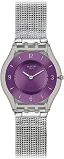 Swatch Women's SFM121M Metal Knit Purple Year-Round Analog Quartz Silver Watch