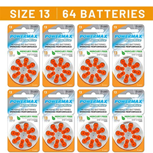 Powermax Size 13 Hearing Aid Batteries, Orange Tab, 64 Count