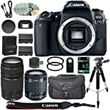 Canon EOS 77D Digital SLR Camera, 18-55mm is STM Lens, 2X 32GB, Telephoto, Wide-Angle Lens, Filters, Flash, Case, Tripod - International Version 18-55mm and 75-300mm