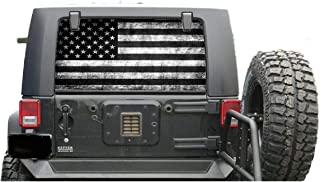 avgrafx Rear Window Decal Perforated Subdue Distressed American Flag Compatable with Jeep Wrangler Includes Instalation Kit