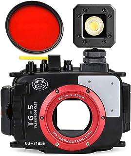 Sea Frogs 60m/195ft 防水プロテクター 水中撮影用水中カメラハウジングケースOlympus TG-5に対応 付き67mm赤フィルタ +Sokani X1 20m / 65ft防水LEDビデオライト【並行輸入品】
