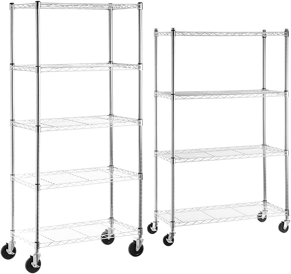 AmazonBasics 5-Shelf Shelving 送料無料(一部地域を除く) Storage Unit on 年間定番 Wheel Casters 4''