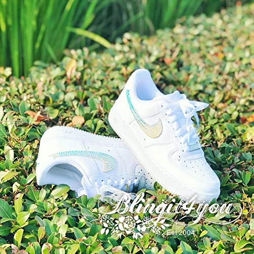 Swarovski Crystal Nike Air Force One Low Top Women's Bling Diamond Sneakers Prom Shoes Wedding Shoes with AB or Shimmer Crystals