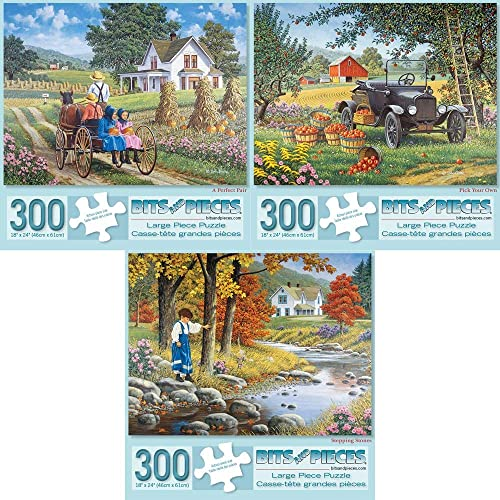 Bits and Pieces - Set of Three (3) 300 Piece Jigsaw Puzzles for Adults - A Perfect Pair, Pick Your Own, Stepping Stones - 300 pc Jigsaws by Artist John Sloane