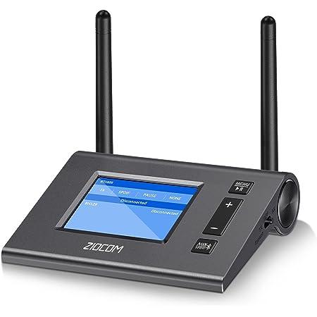 ZIOCOM Bluetooth トランスミッター レシーバー Aptx HD 低遅延 Bluetooth 5.0 アダプター LEDディスプレイスクリーン付き デュアルリンク 光デジタル デジタルオプティカル 3.5mm AUX RCA/テレビ/PC/ラップトップ/スピーカーに対応可能