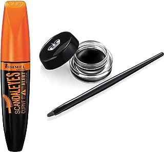 Rimmel Scandaleyes Kit with Scandaleyes Curve Alert and Scandaleyes Waterproof Gel Eyeliner, Black, Combo