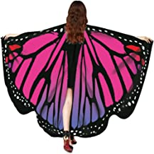 Hemlock 2018 New Costume Butterfly Wings Shawl Cape Scarf Fairy Poncho Wrap Butterfly Shawl Accessory (Hot Pink)
