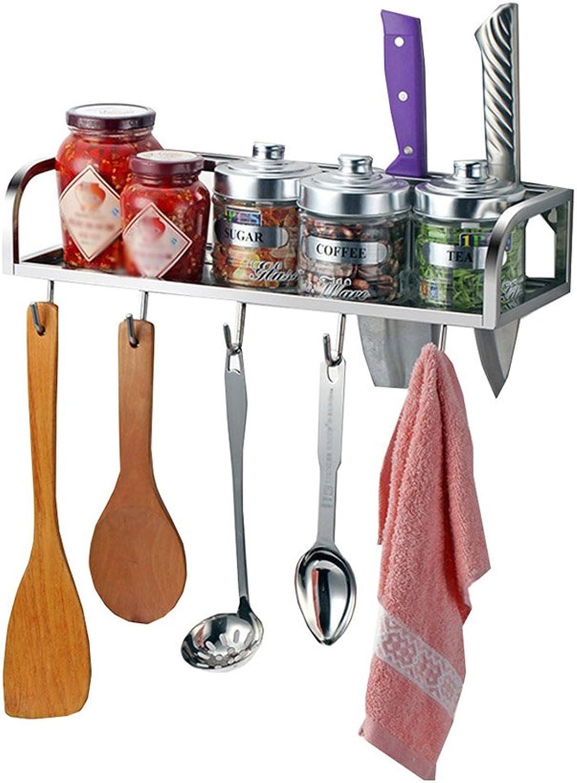 Upgrade Multi-Functional Wall-Mounted Seasoning Frame 304 Stainless Steel Kitchen Shelf with Hooks Spice Rack Kitchen Pendant Knife Rack (Size   50cm)