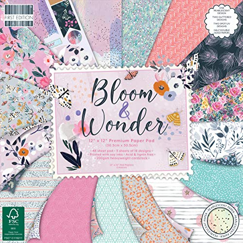 First Edition FEPAD224 Paper Pad 12x12 - Bloom And Wonder, Multicolour