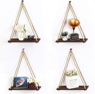 LIANTRAL Hanging Shelves - Set of 4 Wood Floating Shelves for Wall - Wall Shelves for Bedrooms, Living Room, Bathroom, Kitchen, Office, Rustic Plant Hanging, Brown