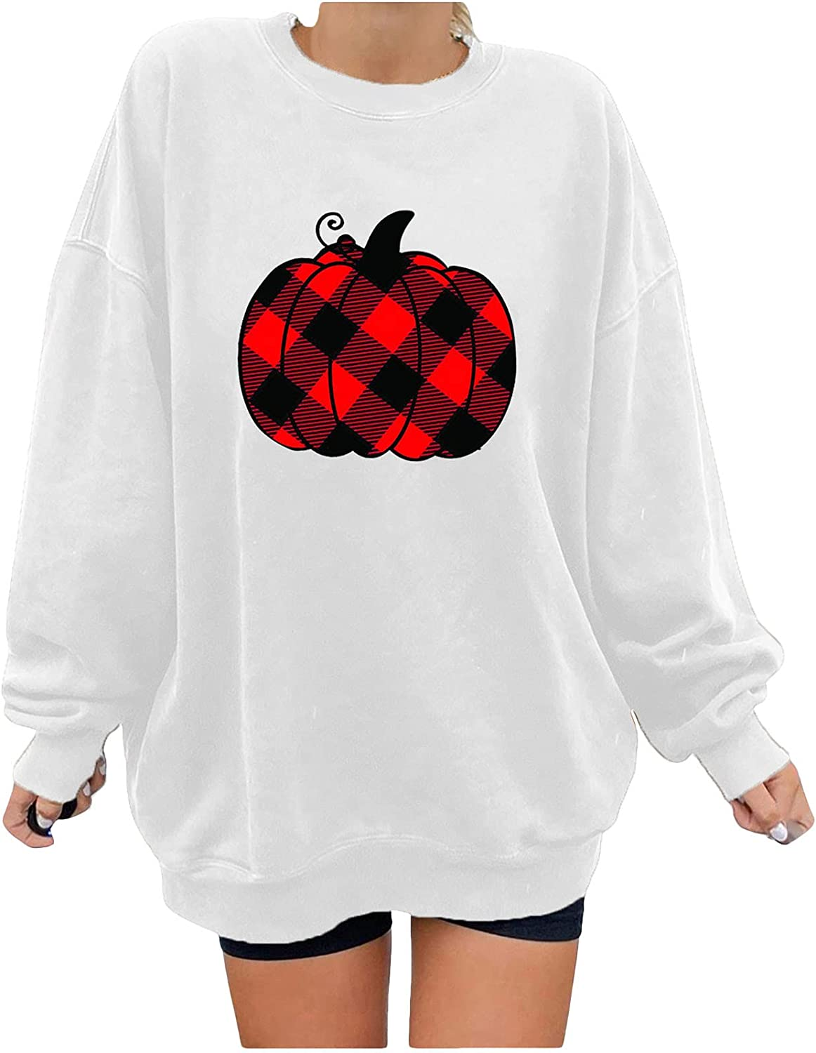 Sweatshirt for Womens Trendy Full Sleeve Solid Color Top Halloween Pumpkin Print Blouse Loose O Neck Pullover