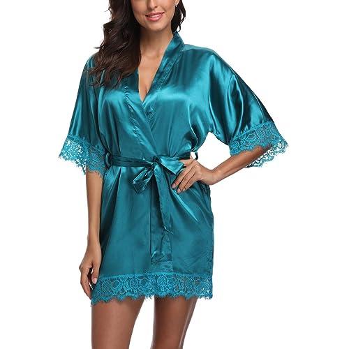 2280340a22 Short Satin Kimono Robes Women Pure Color Bridemaids Bath Robe with Lace  Trim