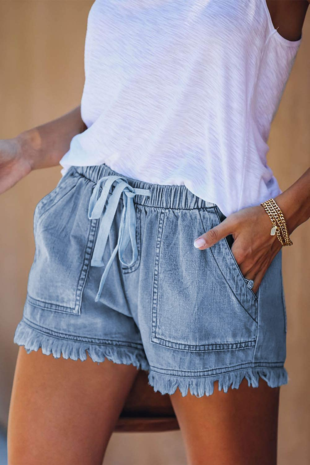 HVEPUO Womens Summer Linen Shorts Casual Elastic Waist Short Pants with Pockets.Order A Size Up!
