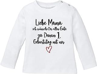 Ezyshirt Liebe Mama ich wünsche dir Alles Gute zum 1. Geburtstag mit Mir T-Shirt Baby Langarm Bio Baumwolle