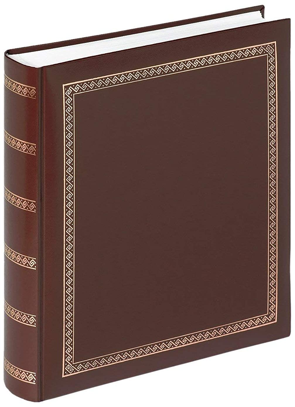 Walther design MX-101-P Das Schicke Dicke artificial leather book bound album with gold embossing, 11.4 x 12.5 inch (29 x 32 cm), 100 white pages, brown