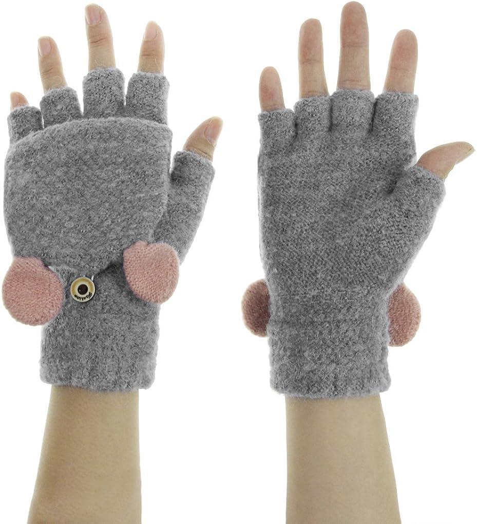 Gloves with flap Flip top mittens lama Half finger mittens alpaca Fingerless Gloves With Fold over Cap