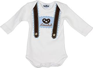 Eisenherz Baby Body Langarm hellblau Lausbub und Breze mit Hosenträger Applikation in verschiedenen Größen - süßer Trachtenlook