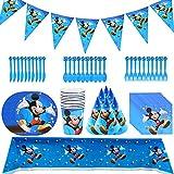 Set de Fiesta de Cumpleaños de Mickey, Vajilla De Fiesta Mickey Party Supplies Fiesta Decoraciones de Vumpleaños Party Vajilla Paquetes Incluye Flatwares, Tazas, Manteles, Servilletas, Pancartas