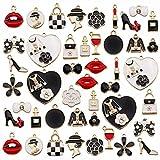 ebanku 46 pezzi ciondoli assortiti placcati oro smaltati charms lega per gioielli fai da te, collane, bracciali, orecchini, regali per natale
