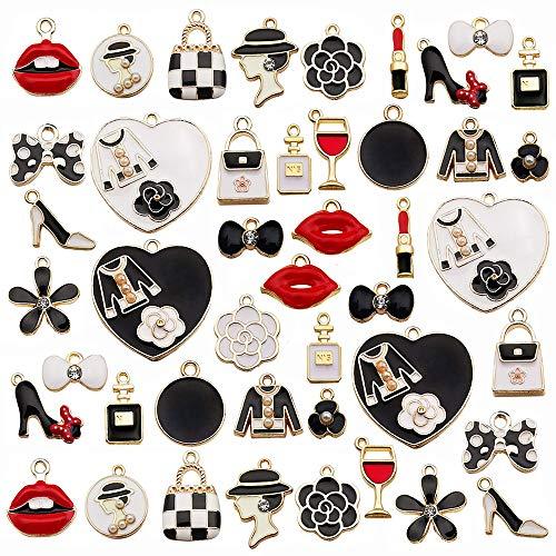 EBANKU 46 Stück Verschiedene Vergoldete Emaille Lippenstift High Heels Lippen Bogen Charme Baumeln Charme Anhänger für Halskette Armband Schmuckherstellung