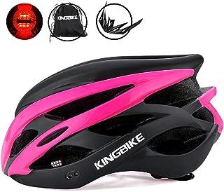 KINGBIKE Ultralight Bike Helmets CPSC&CE Certified with Rear Light + Portable Simple Backpack + Detachable Visor for Men Women(M/L,L/XL)