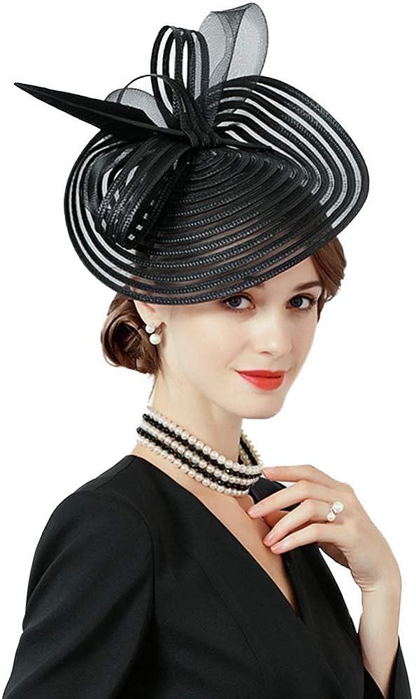 F FADVES Feather Fascinators for Women Elegant Wedding Cocktail Church Tea Party Hat