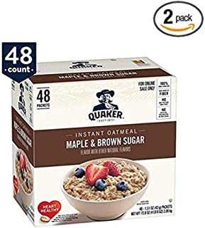 Quaker Instant Oatmeal, Maple & Brown Sugar, 48 count - Pack of 2